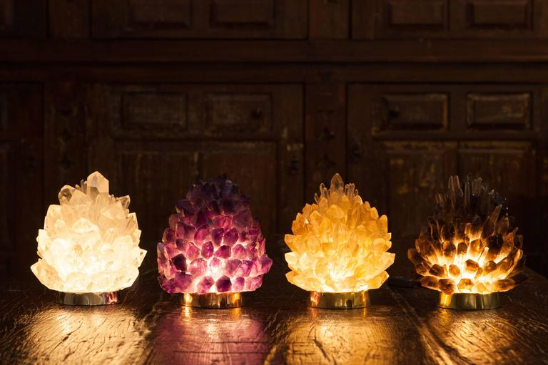 Brazilian Natural Amber Quartz Lighting -