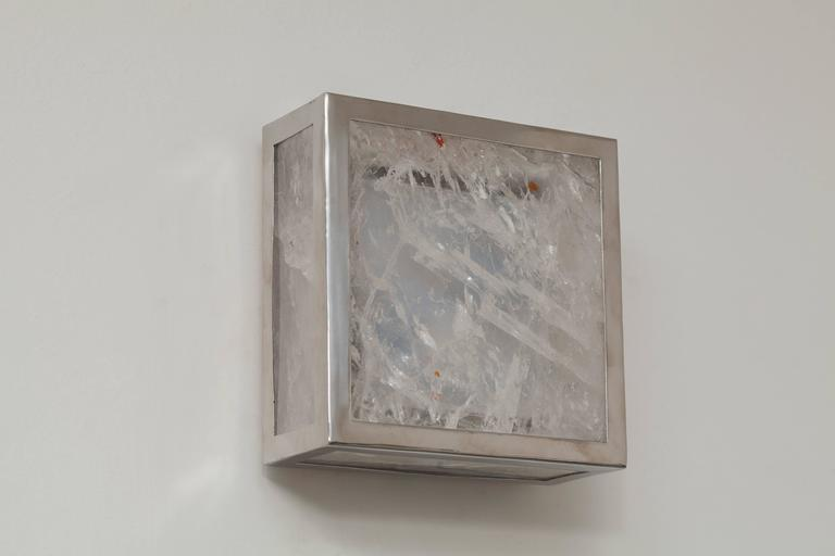 "Organic Modern Pure Rock Crystal Sconces, ""Classic Cube,"" Demian Quincke For Sale"