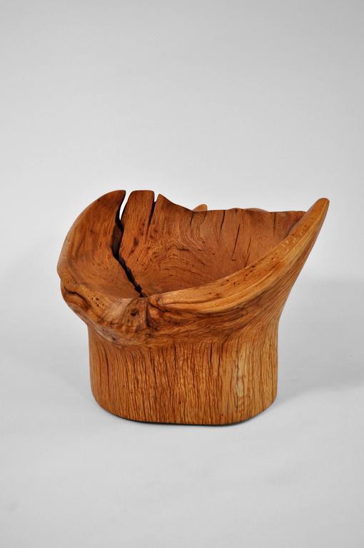 Organic Modern Unique Oak Stool by Jörg Pietschmann For Sale