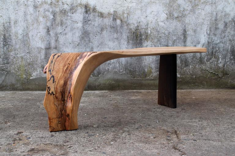 Unique signed console by Jörg Pietschmann Console beech, smoked oak  Measures: H 51 x W 154 x D 40 cm Polished oil finish.   In Pietschmann's sculptures, trees that for centuries were part of a landscape and founded in primordial forces tell
