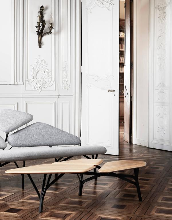 Borghese coffee table by Noé Duchaufour-Lawrance  Dimensions: 35 x 139 x 64 cm Solid oak tabletop, steel structure Mat black stained wood  Noé Duchaufour Lawrance started his career as a sculptor and used all his gifts to create the Borghese