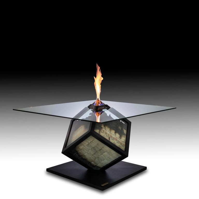 "Contemporary ""Too Much"", Unique Fire Table, Amarist For Sale"