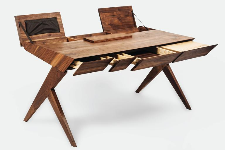 """""""Locust"""" Wood Desk with """"Nest"""" Chair - Alexandre Caldas Measures: Desk: Width 150 cm Depth 80 cm Height 76 cm  Nest chair: Width 52 cm Depth 55 cm Height 74 cm   The design can be inspiring for those who deal with it in a day-to-day use."""