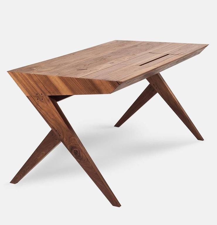 """Portuguese """"Locust"""" Wood Desk with """"Nest"""" Chair, Alexandre Caldas For Sale"""