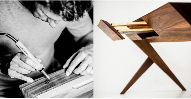"Contemporary ""Locust"" Wood Desk with ""Nest"" Chair, Alexandre Caldas For Sale"