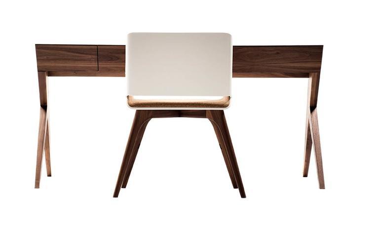 """Locust"" Wood Desk with ""Nest"" Chair, Alexandre Caldas For Sale 1"