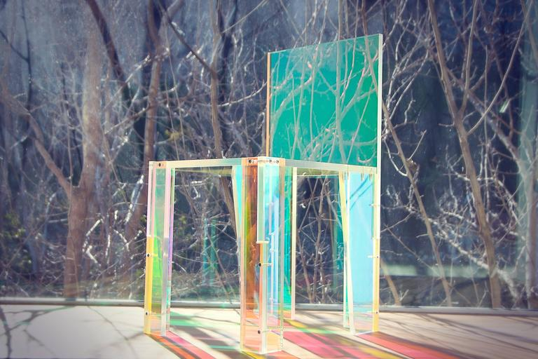 Giorgio chair by Diogo and Juliette Felippelli  Dichroic film on acrylic Measures: 16