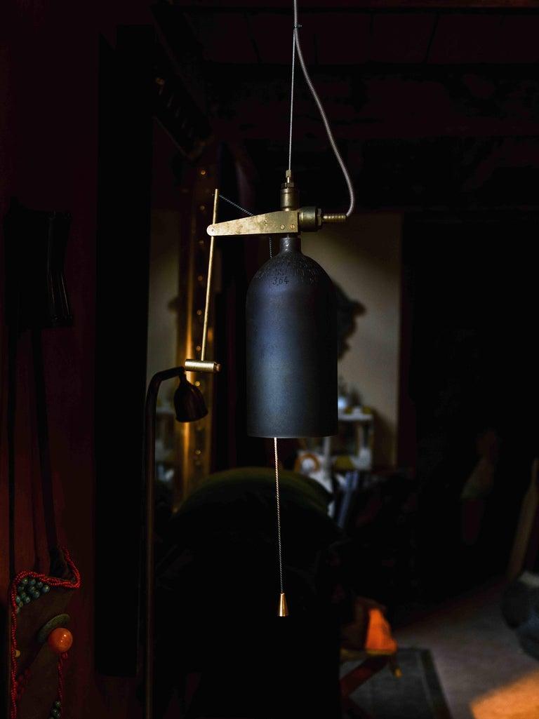 Dutch Bellamp Brass Suspension Light, Akko Goldenbeld For Sale