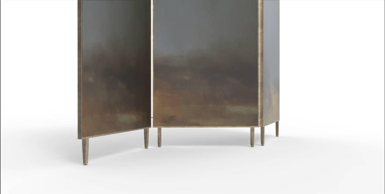Blue Hand-Painted Screen - Jan Garncarek In New Condition For Sale In Collonge Bellerive, Geneve, CH