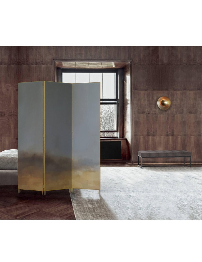 Hand-painted cloth in a full brass frame. It is delicate and beautiful solution to divide the space. Each screen is different and unusual because of the painting created by the artist. Full brass frame Dimensions: 180 x 2.5 x 190 cm Each screen