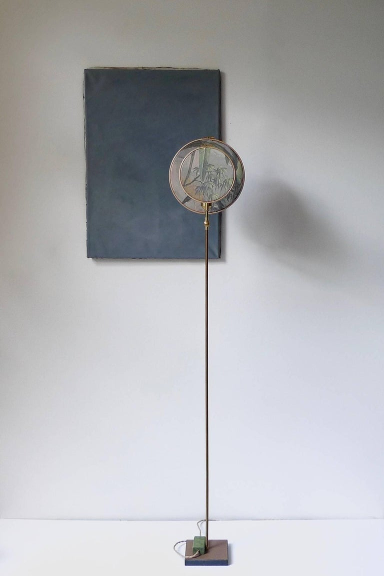Light object, floor lamp, circle blue grey