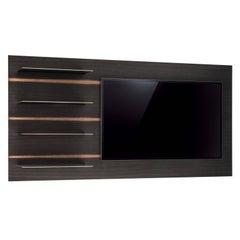 Watanabe Shelf Unit for TV Mount, Dark White Oak with Patinated Bronze Shelves