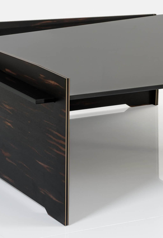 American Keenan Coffee Table In African Ebony Veneer, Bronze And Black  Glass Top For Sale