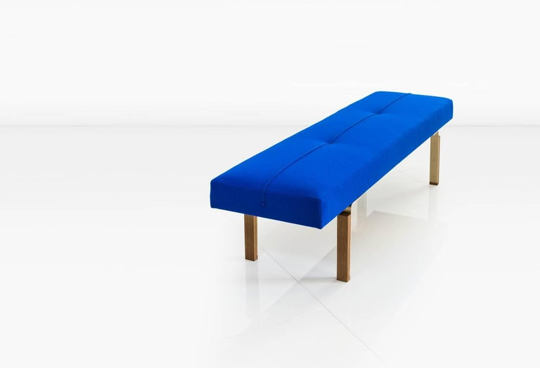 Modern Parisi Bench in Blue with Solid Brass Legs Integrated into Wood Blocks, COM/COL For Sale