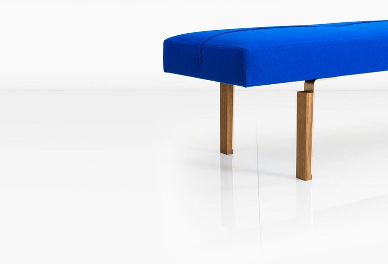 American Parisi Bench in Blue with Solid Brass Legs Integrated into Wood Blocks, COM/COL For Sale