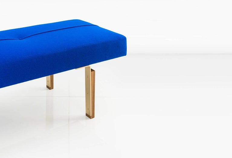 Parisi Bench in Blue with Solid Brass Legs Integrated into Wood Blocks, COM/COL In New Condition For Sale In New York, NY