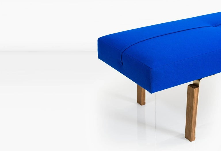 Contemporary Parisi Bench in Blue with Solid Brass Legs Integrated into Wood Blocks, COM/COL For Sale