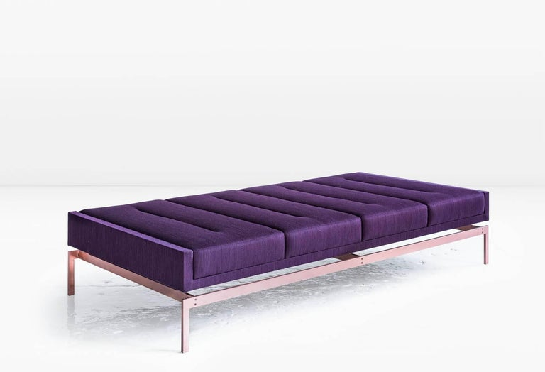 Modern Olivera Chaise Longue (or Daybed or Bench), Purple Danish Wool and Bronze Base For Sale