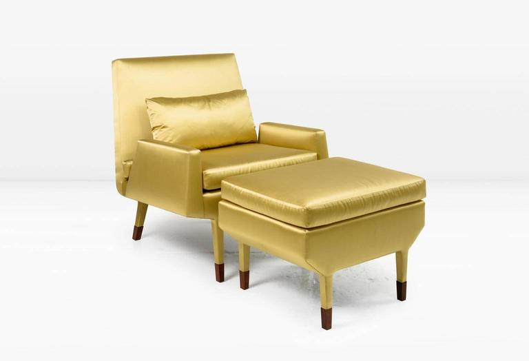Angott Club Chair or Armchair with Walnut Sabot in Gold Silk and Cotton Satin  In New Condition For Sale In New York, NY
