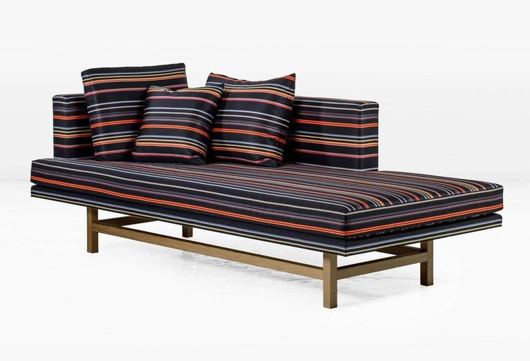 Modern Aragon Chaise Lounge with White Oak Legs and Striped Wool For Sale