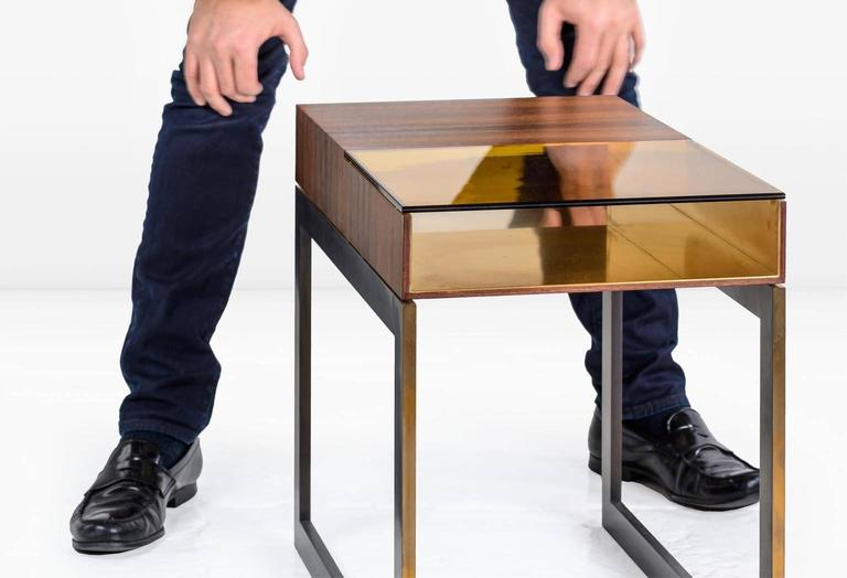Modern Booker Side Table in Santos Veneer, Colored Glass, Bronze Interior, Steel Base For Sale