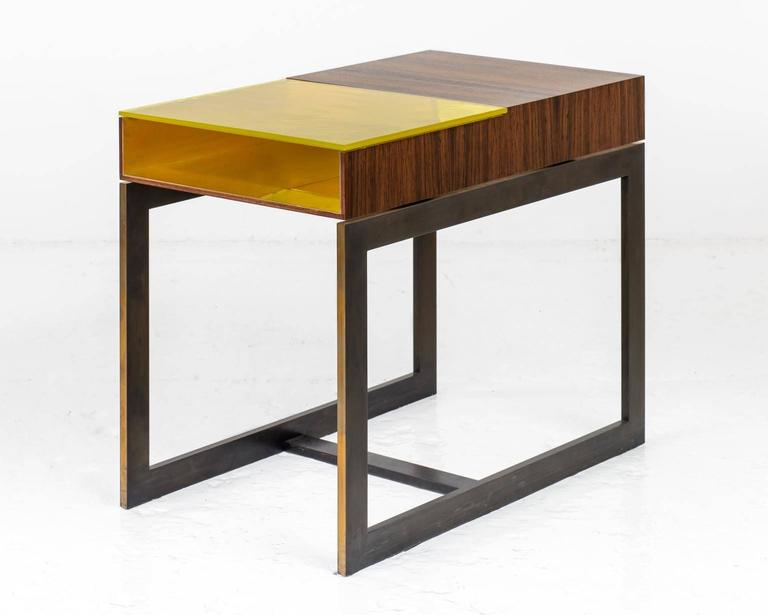 American Booker Side Table in Santos Veneer, Colored Glass, Bronze Interior, Steel Base For Sale