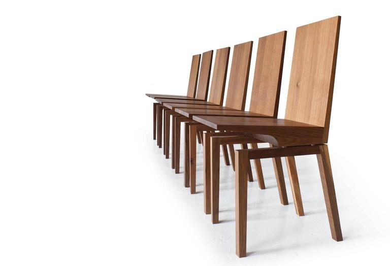 Corbett Dining Chair in Solid White Oak with Bronze Standoffs In New Condition For Sale In New York, NY