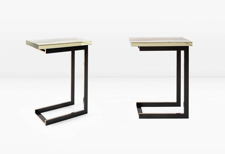 Patinated Dempsey Side Table with Mirrored Borosilicate Glass Top and Bronze Base For Sale