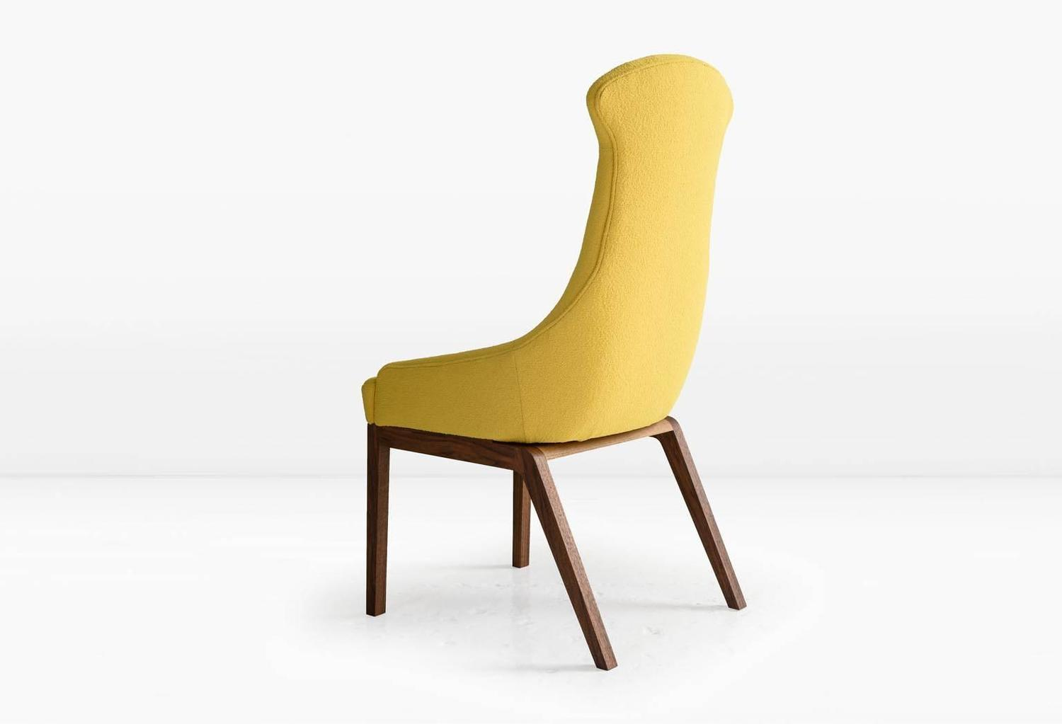 Evander dining chair in yellow wool boucl 233 or leather with solid
