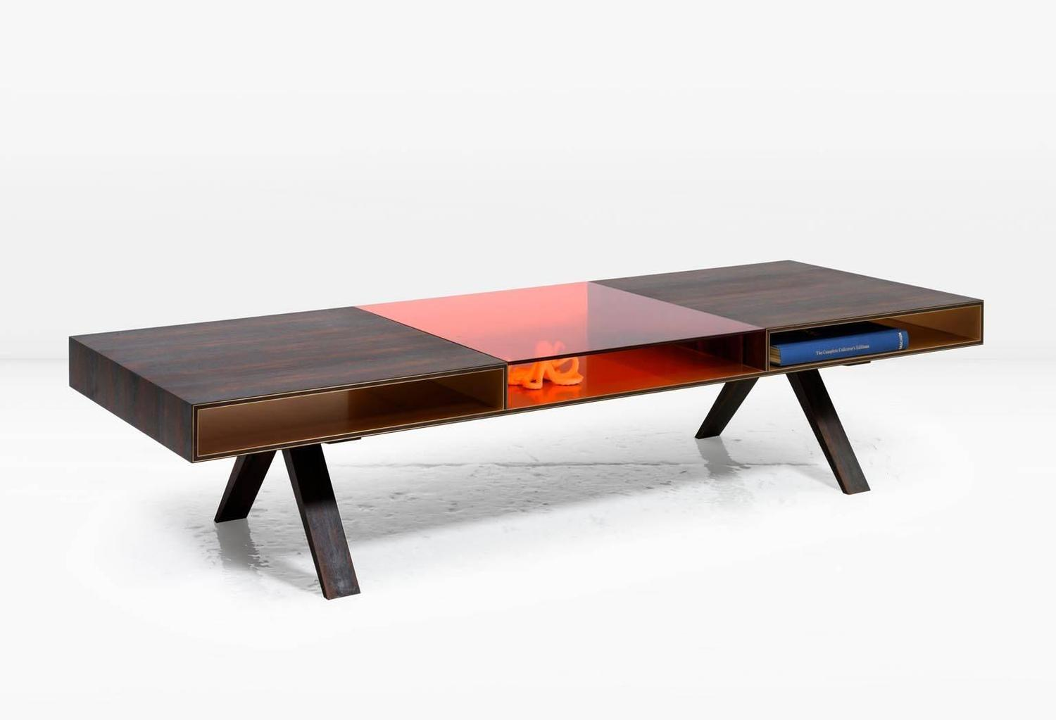 Gilroy Coffee Table With Rosewood And Colored Italian Glass Top