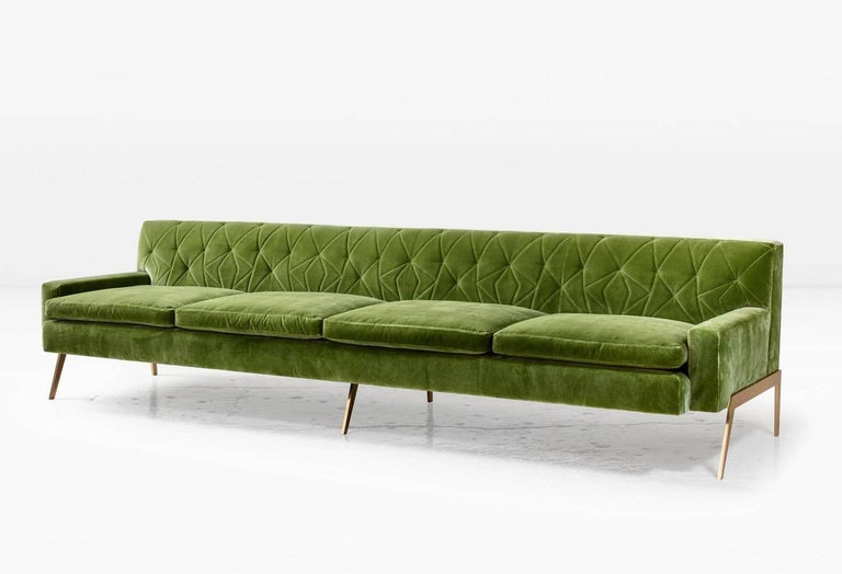 The Mayweather is the exception to large sofas with hulking masses. An abstracted, tufted pattern has been created on the back cushions. The loose seat cushions on the 2.0 are surrounded by down for ultimate comfort. The 1/2 inch thick metal legs