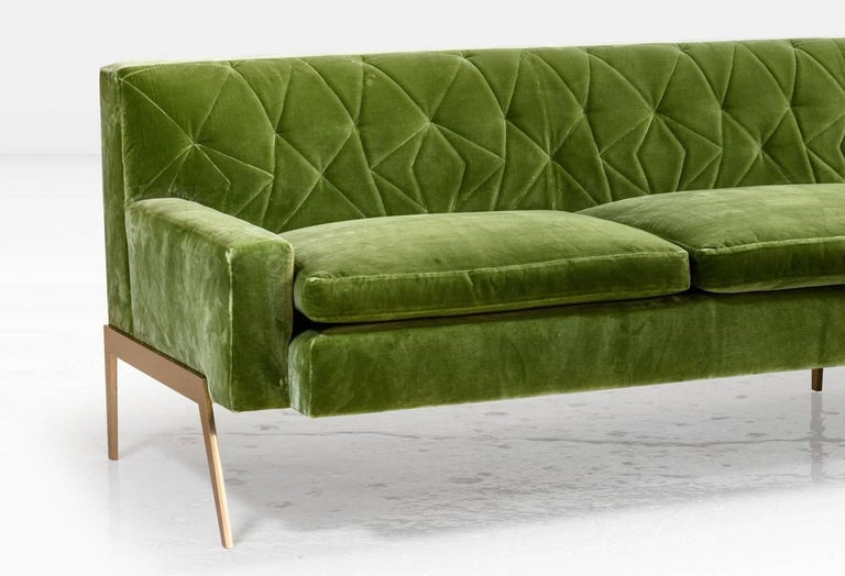 American Mayweather Sofa 2.0 with Tufted Silk Velvet Back in Leaf Green and Bronze Legs For Sale