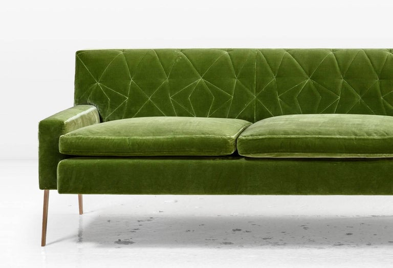Polished Mayweather Sofa 2.0 with Tufted Silk Velvet Back in Leaf Green and Bronze Legs For Sale