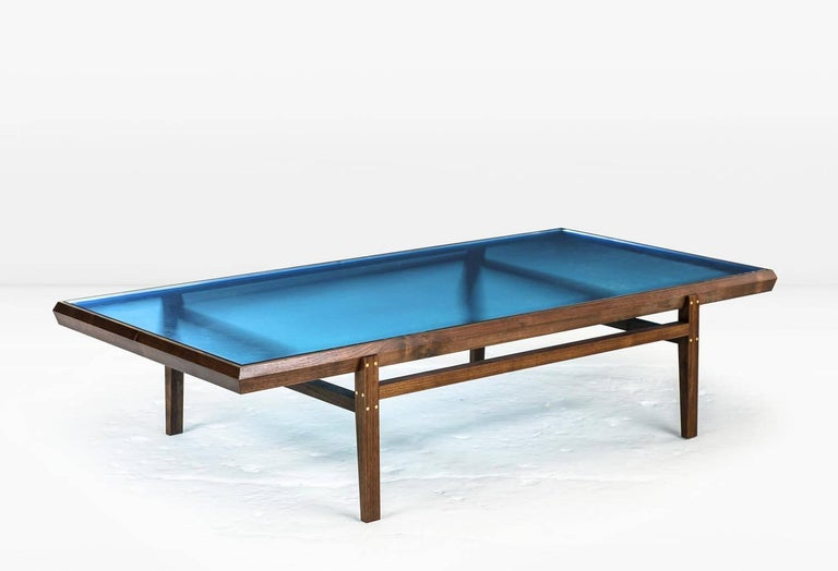 Modern Pintor Coffee Table, Walnut Frame with Brass Inlay, Blue Glass Top For Sale