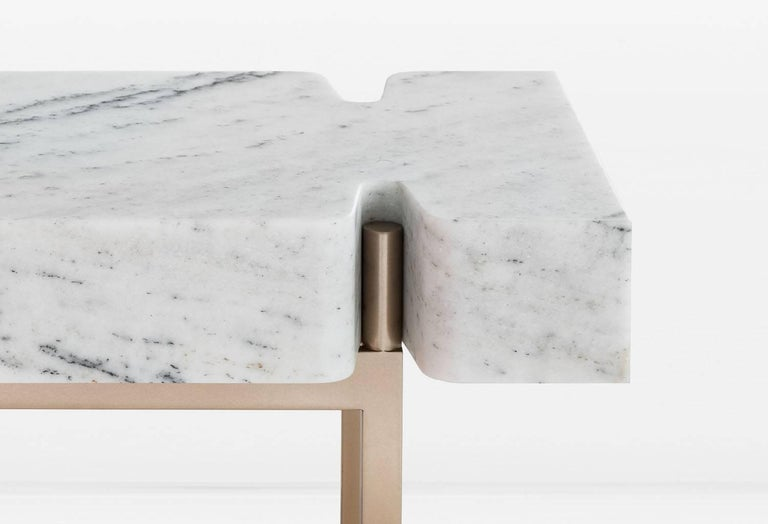 Modern Terranova Side Table or End Table with Hewn Marble Top and Bronze Base For Sale