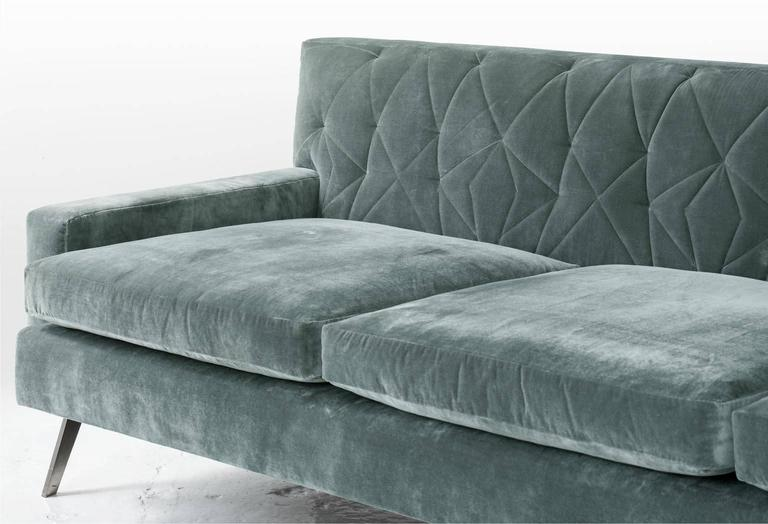 American Mayweather Sofa 2 0 With Tufted Back Nickel Legs In Ice Blue Silk Velvet For