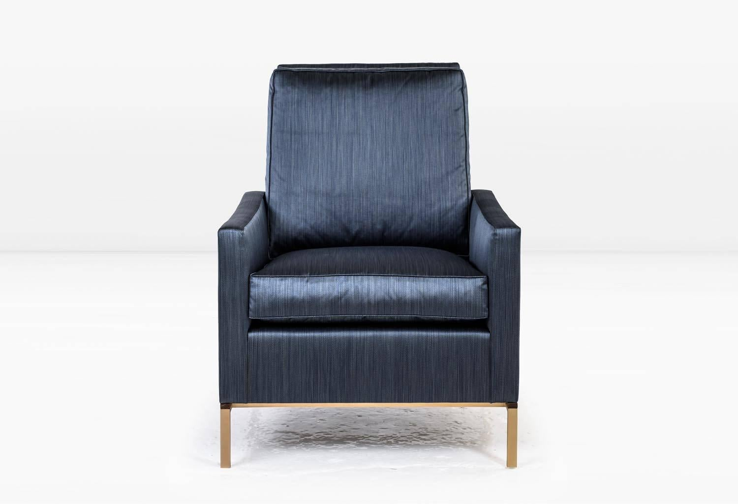 Larkin Armchair With Blue Silk Cotton Strié, Silicon Bronze And Teak Base  For Sale At 1stdibs