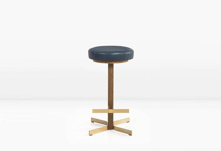 Walcott Barstool, White Oak and Solid Brass Base, Blue Leather Seat 2