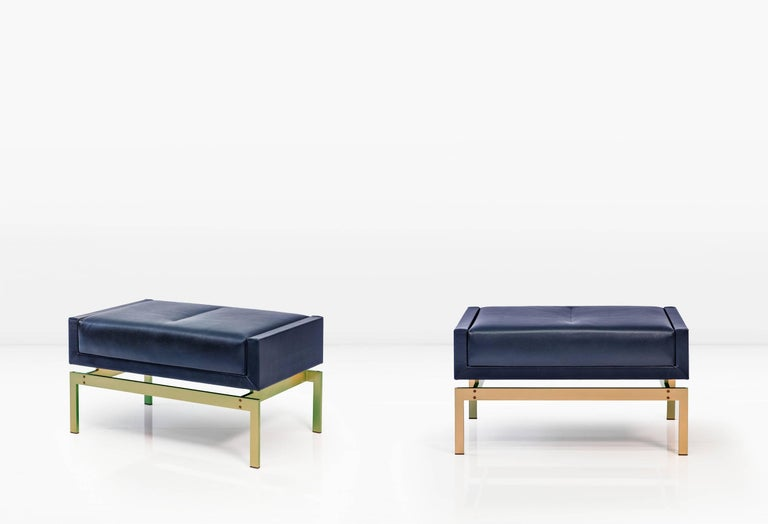 Tremendous Olivera Ottoman With Bronze Base And Dark Blue Leather Theyellowbook Wood Chair Design Ideas Theyellowbookinfo