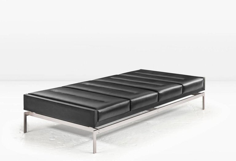 Modern Olivera Chaise Longue / Daybed / Bench with Black Leather, Nickel Base, COM/COL  For Sale