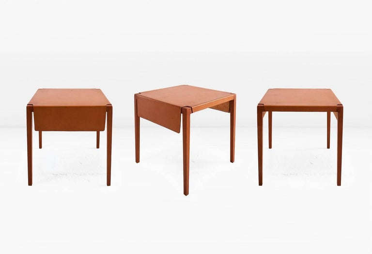Modern Emile Side Table or End Table with Russet Molded Leather over Maple Frame For Sale