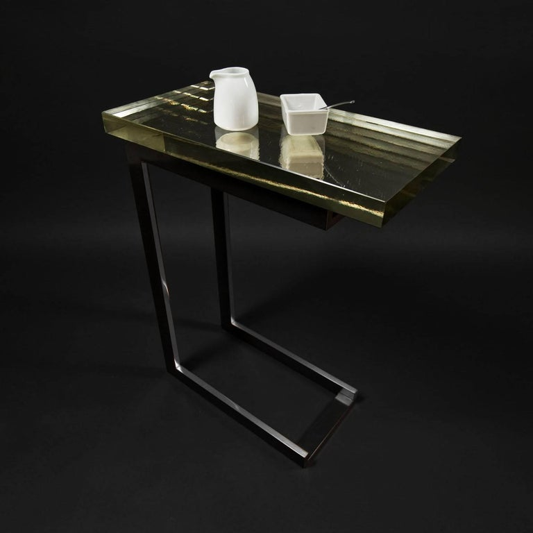 American Dempsey Side Table with Mirrored Borosilicate Glass Top and Nickel Base For Sale
