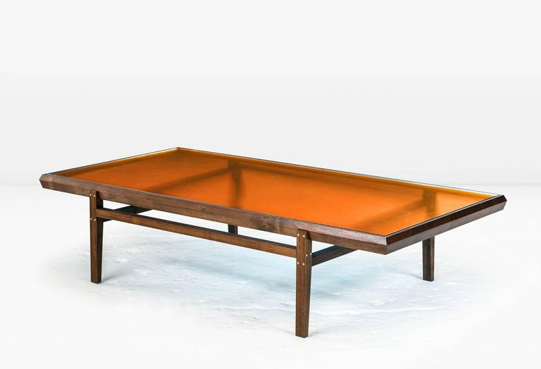 Pintor coffee table walnut frame with stainless steel for Metal frame glass coffee table