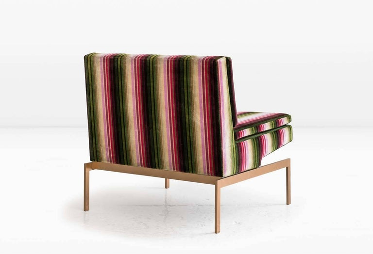 Modern Mancini Chair with Silicon Bronze Base and Striped Velvet, COM or COL For Sale