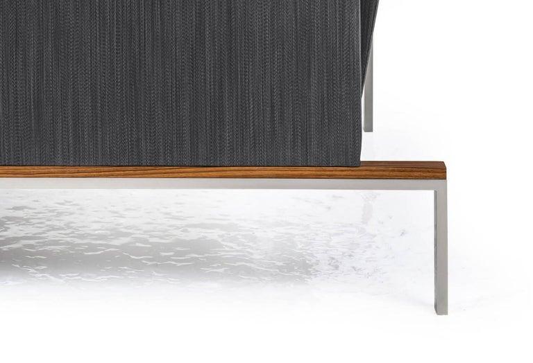 Larkin Armchair with Grey Silk Cotton Strié, Nickel and Teak Base For Sale 1