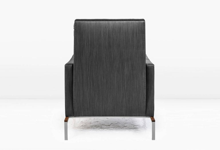 American Larkin Armchair with Grey Silk Cotton Strié, Nickel and Teak Base For Sale