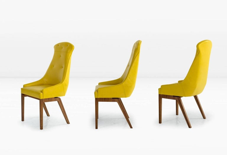 Contemporary Evander Dining Chair in Yellow Leather with Solid Walnut Base For Sale