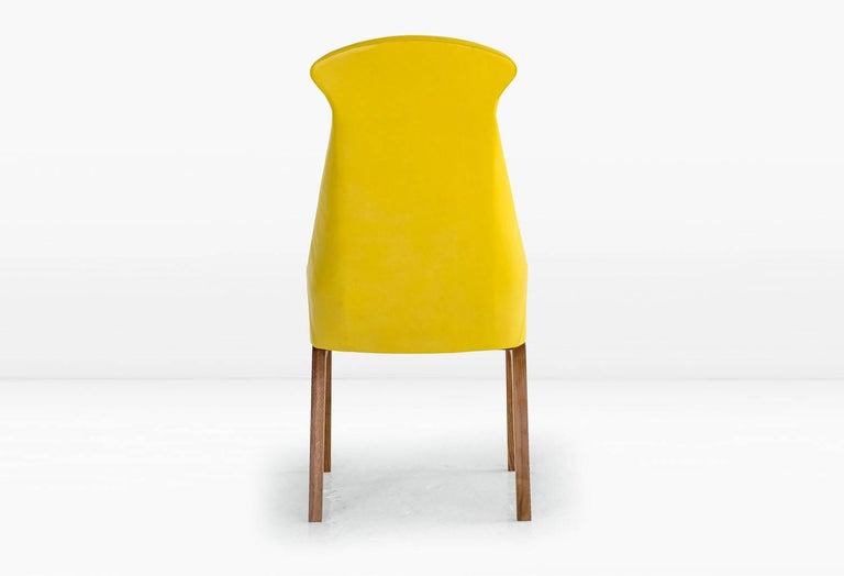 Evander Dining Chair in Yellow Leather with Solid Walnut Base In New Condition For Sale In New York, NY