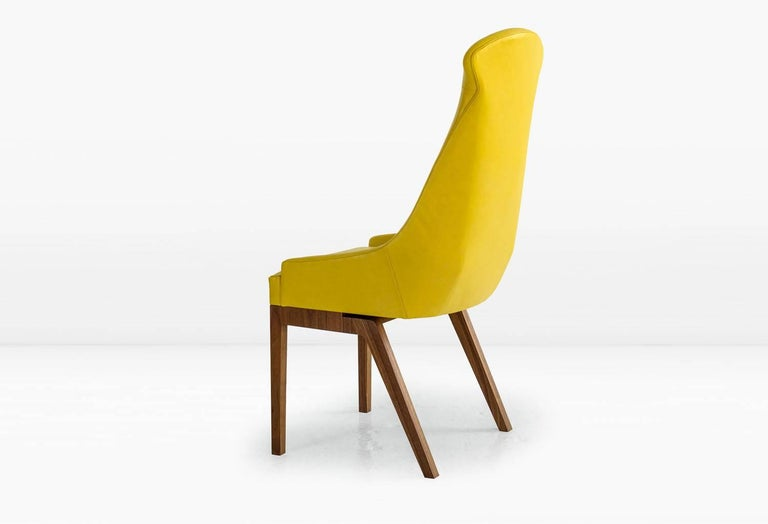 American Evander Dining Chair in Yellow Leather with Solid Walnut Base For Sale