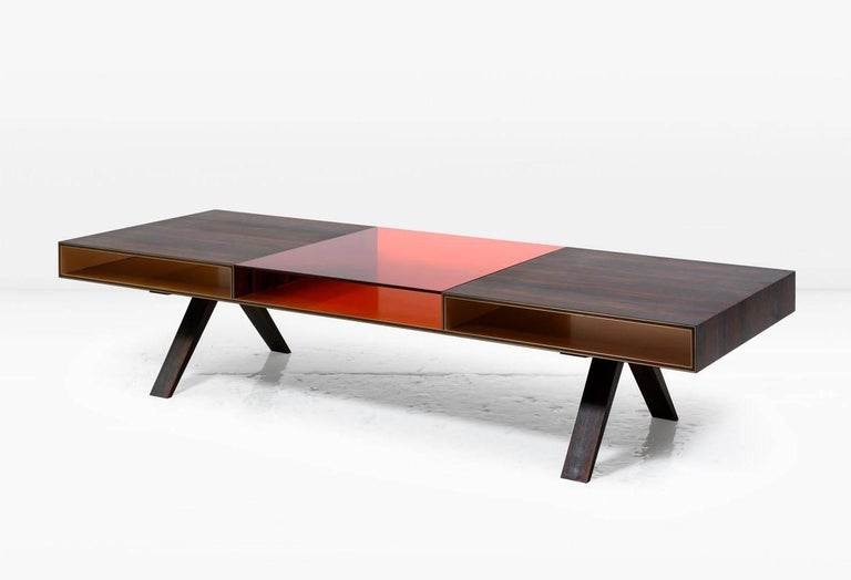 Gilroy Coffee Table With Ziricote And Colored Italian Glass Top Bronze Interior For Sale At 1stdibs